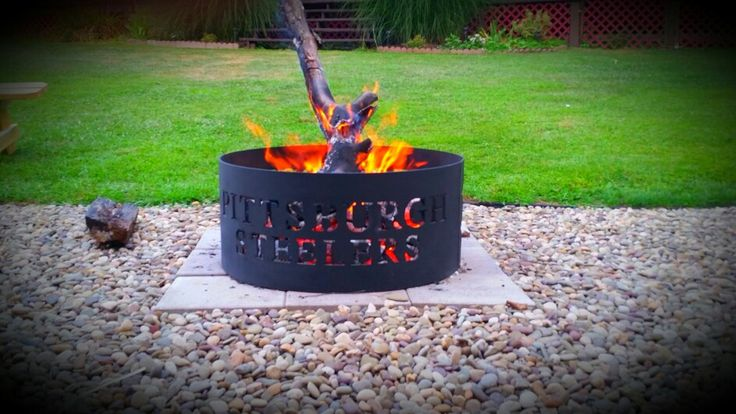 Pittsburgh Steelers Fire Pit Hot Blazing Fire Outdoors