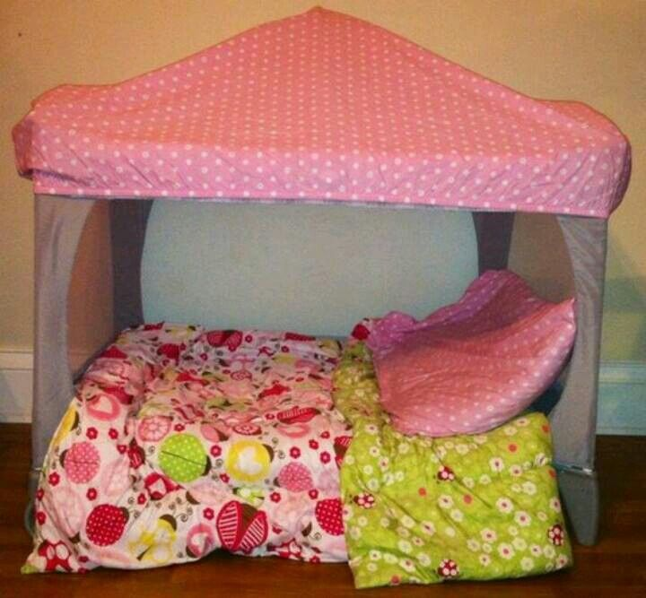 Repurposed pack-n-play: cut out mesh and put a fitted crib sheet on top to create a reading fort.