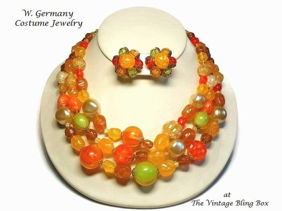 W. Germany Bib Necklace & Earrings Demi by TheVintageBlingBox