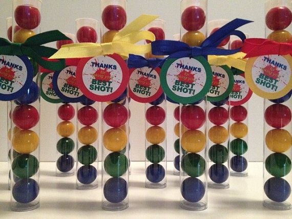 Paintball Splat theme Gumball Tube Party Favors, Set of 12, with tags and Ribbon