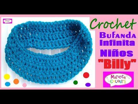 "Bufanda Infinita para Niños a Crochet ""Billy""(Parte 1) Tutorial por Maricita Colours - YouTube"