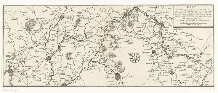 Anonymous | Kaart van de Franse linies in Brabant, ca. 1705, Anonymous, Nicolaes Visscher (II), Staten-Generaal, 1705 | Kaart van de Franse linies in Brabant strekkend van Antwerpen tot aan de rivier Mehaigne, ca. 1705. Volgens de titel naar een origineel in bezit van de hertog van Marlborough.