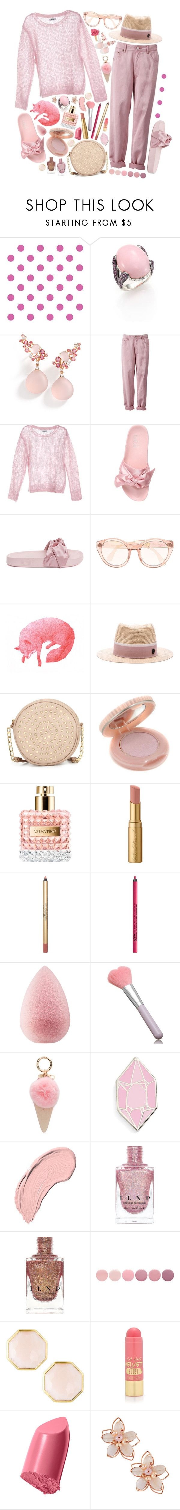 """""""#pink"""" by issuri ❤ liked on Polyvore featuring York Wallcoverings, John Hardy, Brumani, Puma, Maison Michel, Neiman Marcus, Paul & Joe, Valentino, Too Faced Cosmetics and NYX"""