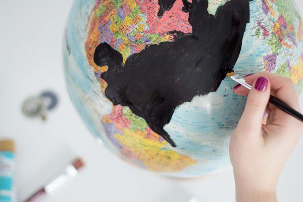 DIY painted globe: http://www.stylemepretty.com/living/2015/05/28/diy-wanderlust-globe/ | Design: Pretty Little Details - http://www.prettylittledetails.ca/