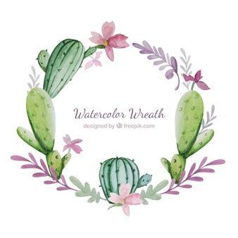 Couronne d'aquarelle avec des fleurs et cactus