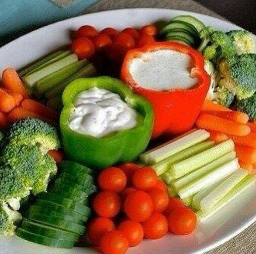 Veggie Tray Idea-Dip in the bell peppers