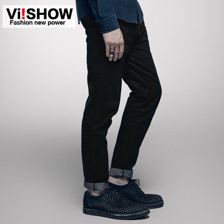 Viishow Designer Jeans Men Winter Hip Hop Pants Men Straight Blue Black Color Casual Mens Jeans Men Trouser