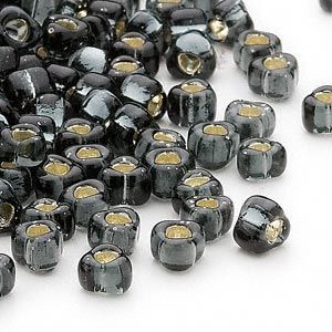 Seed bead, Miyuki, glass, silver-lined grey, (TR1805), #5 triangle. Sold per 250-gram pkg. - Fire Mountain Gems and Beads