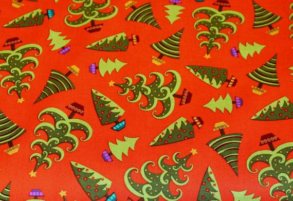 Christmas Fabric Holiday Cheer 1649-45692 Red Trees Studio 8 for VIP 100% Cotton Quilt Apparel Craft Tossed Christmas Trees on Red by JacobandChloesLLC on Etsy