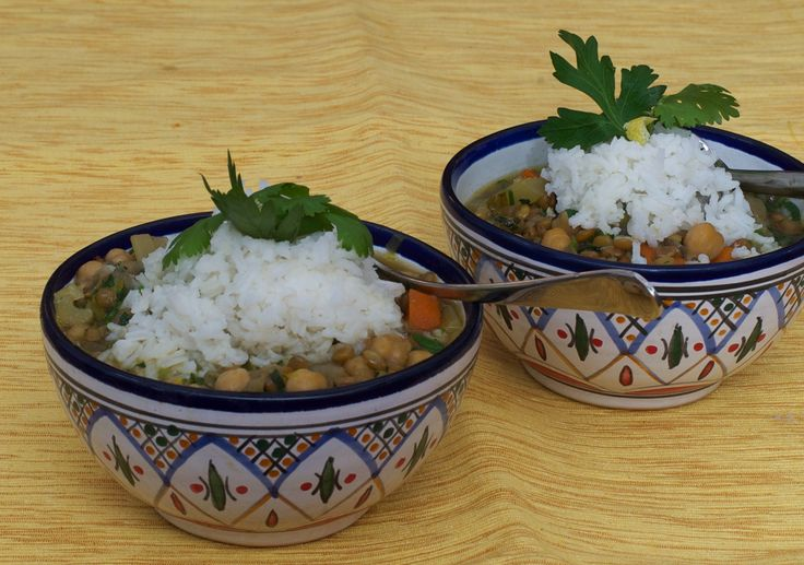 This soup is a cross between harira (chickpea and lentil soup), mujadarrah (a lentil and rice side dish), and French lentil soup. Not only is it hearty and satisfying, but it's also vegan. The recipe can easily be cut in half and freezes well.