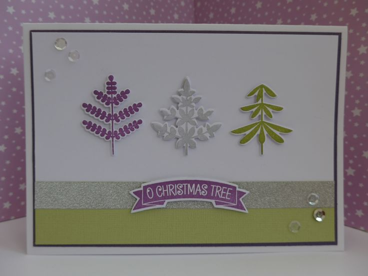Card made using Clearly Besotted O'Christmas Tree stamps.