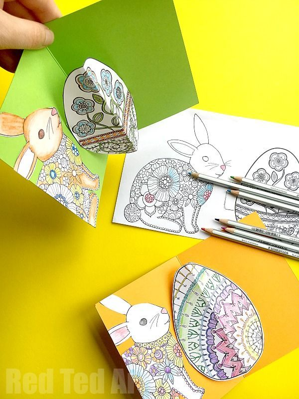 Easy Pop Up Easter Card DIY - Super easy 3D Easter Card. Learn how to make fabulous pop up cards from your favourite coloring sheets. Includes free easter coloring sheets for grown ups and card making printable! Love love love this Easter Card Making DIY. So stinking cute!