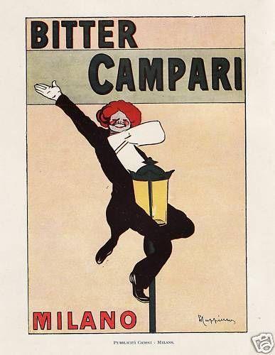 PUBBLICITA' 1921 BITTER CAMPARI MILANO FRAK LAMPIONE CAPPIELLO