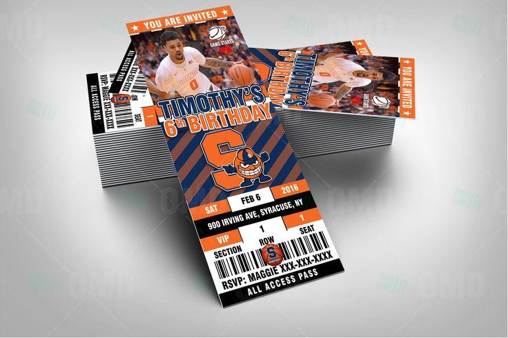 "2.5x6"" Syracuse Basketball Sports Party Invitation, Orange Sports Tickets Invites, Basketball Birthday Theme Party Template by sportsinvites"