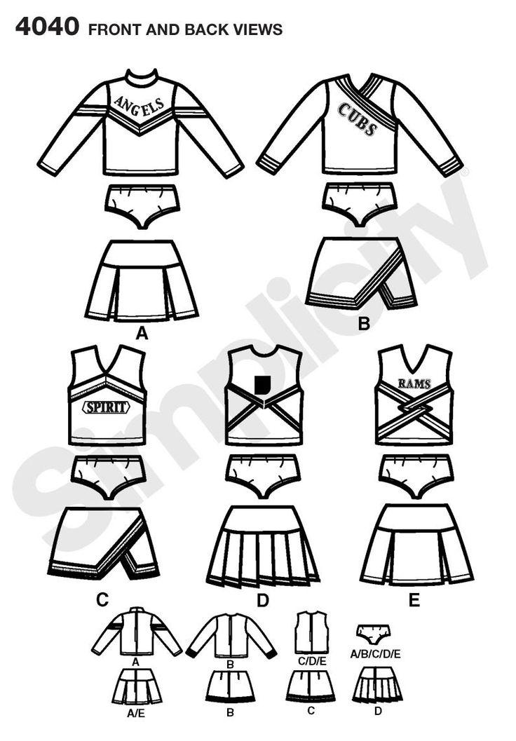 cheerleader costume pattern - Google Search                                                                                                                                                                                 More