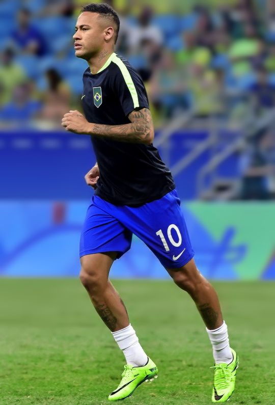 Neymar warms up before the start the Rio 2016 Olympic Games mens first round Group A football match Brazil vs Denmark, at the Arena Fonte Nova Stadium in Salvador, Brazil on August 10, 2016.