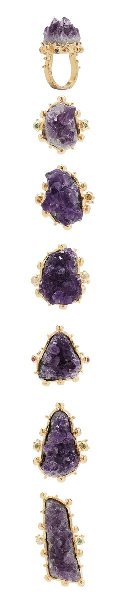 A collection of unique raw amethyst rings set in sterling silver and finished in 18 karat yellow gold vermeil and surrounded by round brilliant cut precious gemstones. #Amethyst #Raw #GemStones #February #BirthStone #RingCollection #Gifts