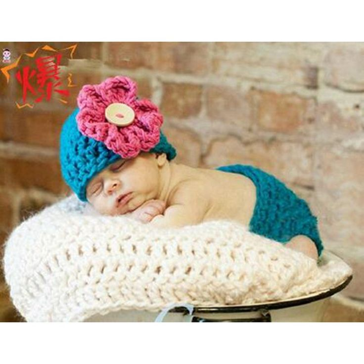 Handmade Woolen Flower Baby Photography Accessories Props Knitting Newborn Girl Hat + Bloomer Conjunto De Bebe Infant Clothes #Affiliate