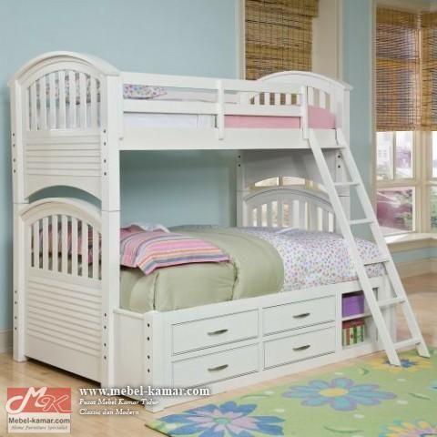 Ranjang anak susun tingkat model terbaru, Tempat Tidur anak Ranjang Anak Susun minimalis warna putihmerupakan salah satumodel tempat tidur anak tingkatyang