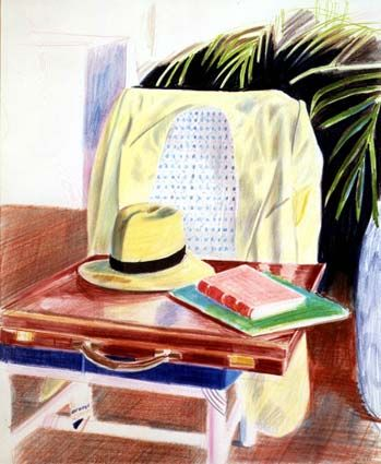 "David Hockney ""Still Life, Taj Hotel Bombay"", 1977  colored pencil on paper  24 x 21 in.(fr) [60.96 x 53.34 cm. (fr)]  Private collection  nice hat!!"