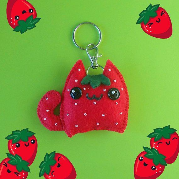 Kawaii Strawberry Cat Plush Keychain Cute Fruit Keychain
