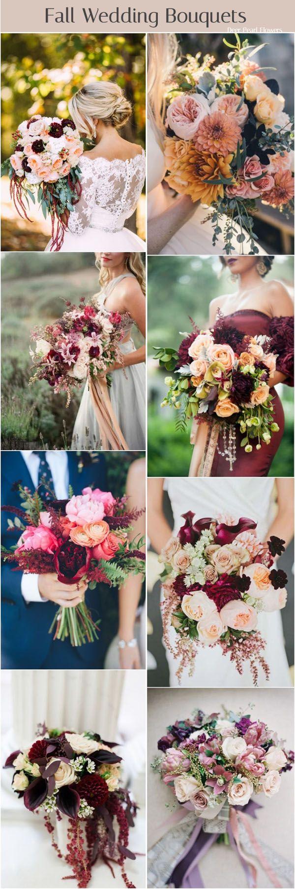 fall wedding bouquet flower ideas / http://www.deerpearlflowers.com/fall-wedding-ideas-for-2017/2/