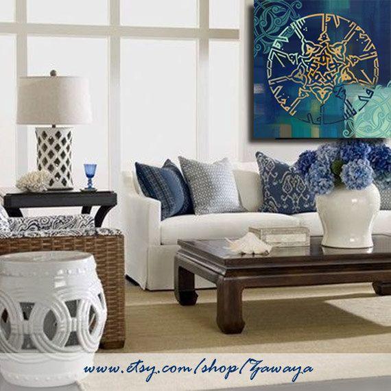 Canvas Wall Art Turquoise Blue Navy Shades Decor Arabic