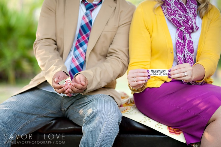 Fortune Cookies-Engagment Photoshoot  Look Rhi!!! Another fun idea!! You could just make the fortune, then  have a handful of regular cookies... then have a side shot of your hands, ring on top, next to a bundle of cookies and the announcement...