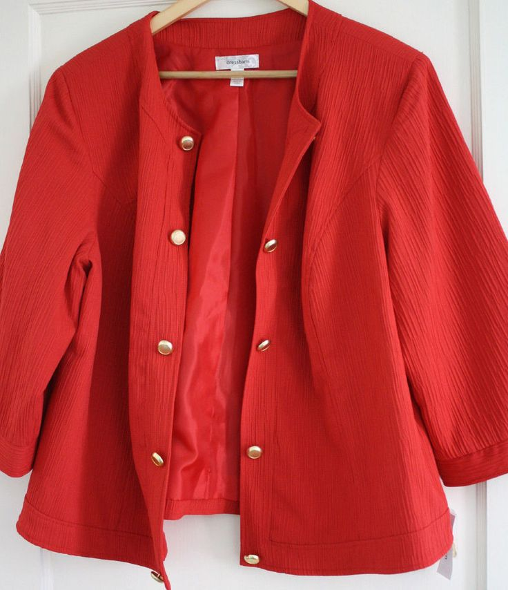 Women's Plus Size 2X Coral Orange Blazer Jacket Gold