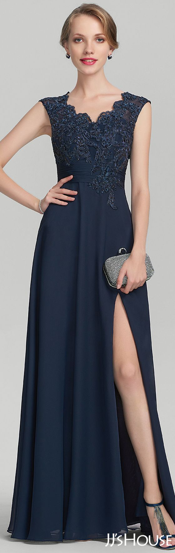 A-Line/Princess V-neck Floor-Length Chiffon Lace Mother of the Bride Dress With Beading Split Front#JJsHouse #Mother dresses
