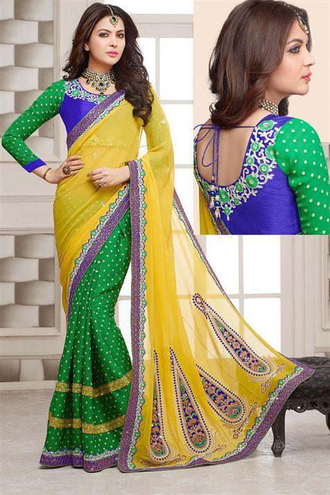 Yellow, Green Georgette Designer party wear saree
