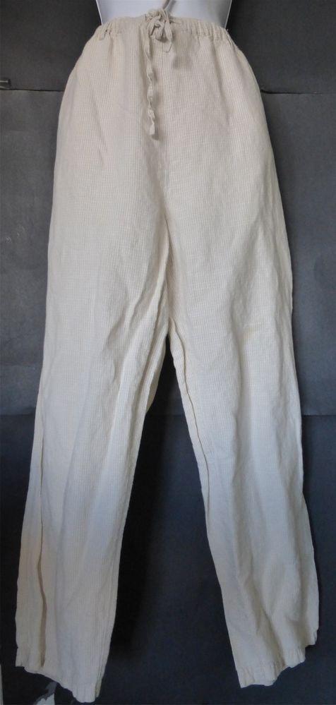 CHEROKEE Beige & White Checked Linen & Cotton Pants Size MEDIUM Drawstring  vegan