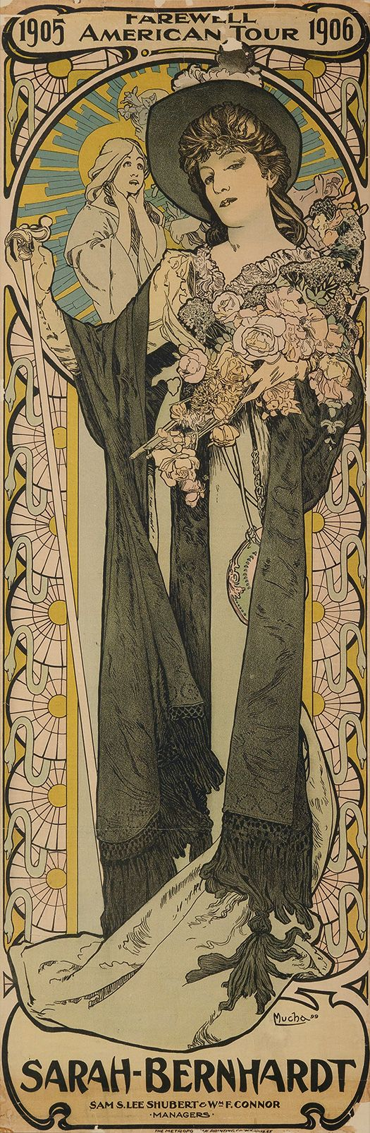 Sarah-Bernhardt / Farewell American Tour 1905-1906 (1905). Alphonse Mucha (Czech, 1860-1939). Poster. The Metropolitan Printing Co., New York. After a long run of European tours which began in 1880, Sarah Bernhardt turned to the United States as a...