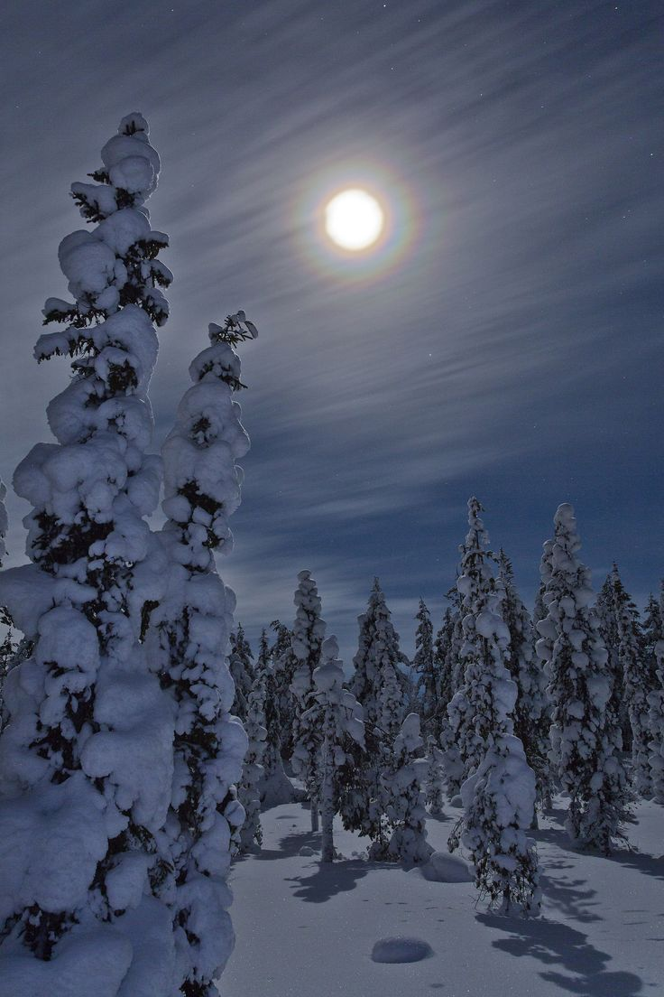 Full moon with a halo. Kuusamo, Finland.