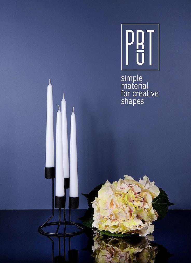 PRUT metal candle holder, design FOUR black colour