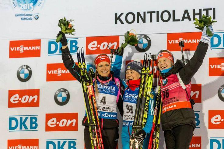 11.03.2015, Kontiolahti, Finland (FIN): Soukalova (CZE), Yurlova (RUS) & Mäkäräinen (FIN) - IBU world championship biathlon, Individual Competition 15km, women, Kontiolahti (FIN),
