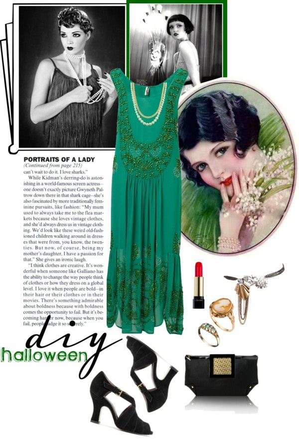 """DIY Halloween - Flapper Girl Green"" by maria-maldonado ❤ liked on Polyvore"
