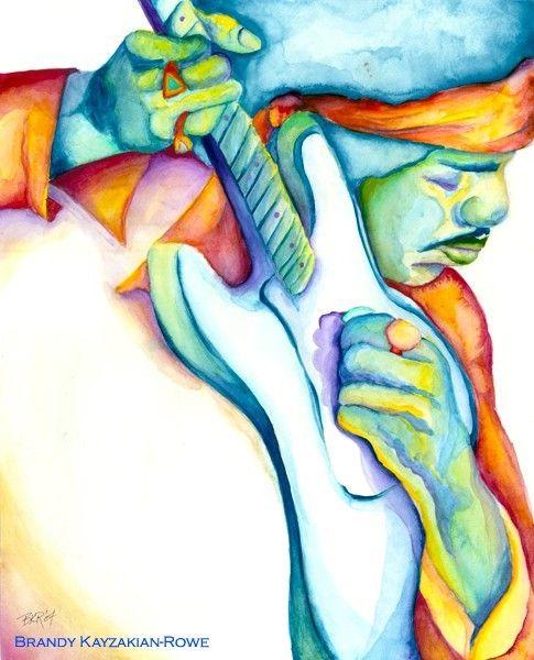 Jimi Hendrix watercolor painting art print - rainbow psychedelic hippie musician by Brandy Kayzakian-Rowe