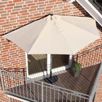 sun umbrella for my balcony, when i finally have one :)  So Smart! Wonder if it works... Sonnenschirm halbrund für Balkone oder Terrassen Polyester Beige: Amazon.de: Garten
