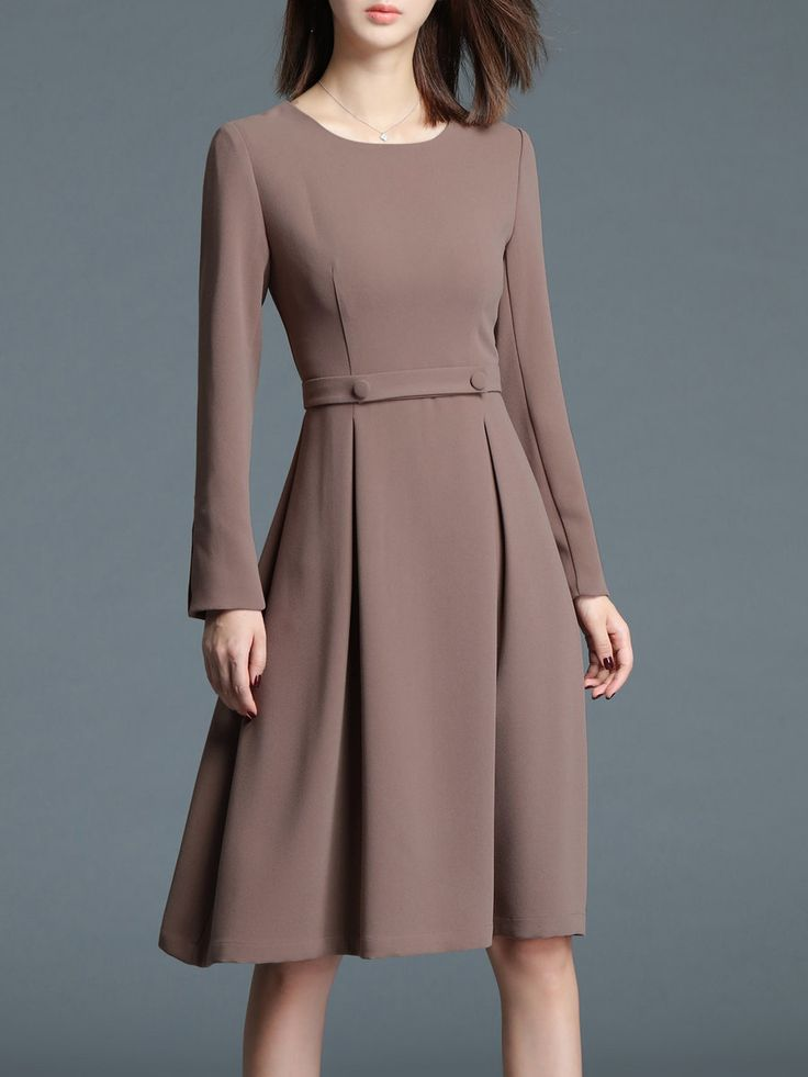 Shop Midi Dresses - Khaki Plain Elegant A-line Midi Dress online. Discover unique designers fashion at StyleWe.com.