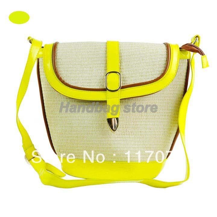 2013 новый женская Мода Флуоресценции Цвет Соломы Тканые сумка 2013 Шнурок Ведро Сумка Сумки 15641