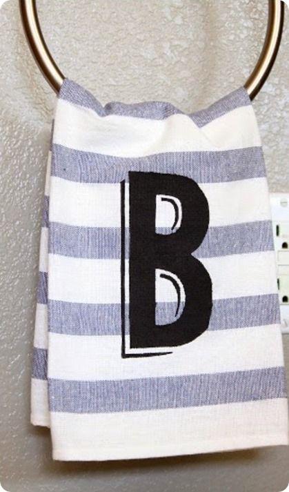 West Elm inspired monogram stripe hand towel made with a freezer stencil