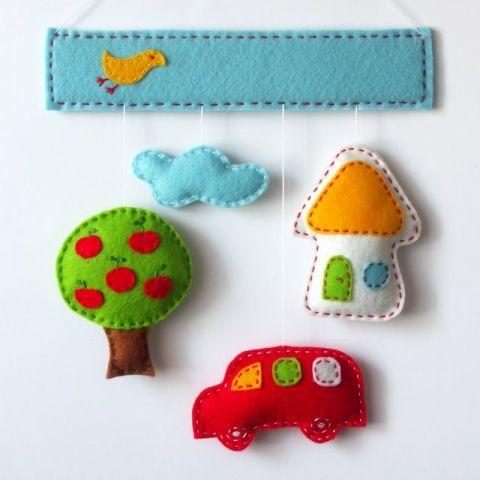 Felt wall ornament for kids' room, sky - cloud - house - tree - car