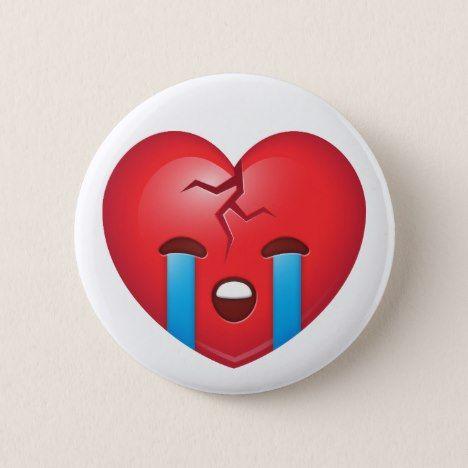 Broken Heart Emoji Button #valentinesday #buttons