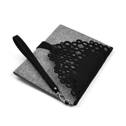Grey/black felt clutch bag GREY LETTER | www.slime.com.au