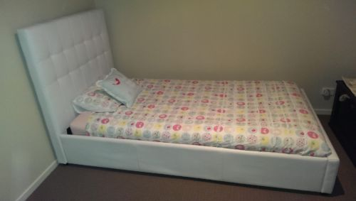 White Faux Leather King Single Bed