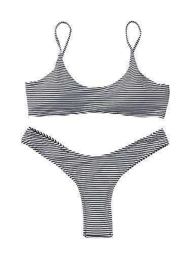 3499722acf Womens Swimsuits 2 Pcs Brazilian Top Thong Bikini Set High Waisted Bathing  Suits for Women