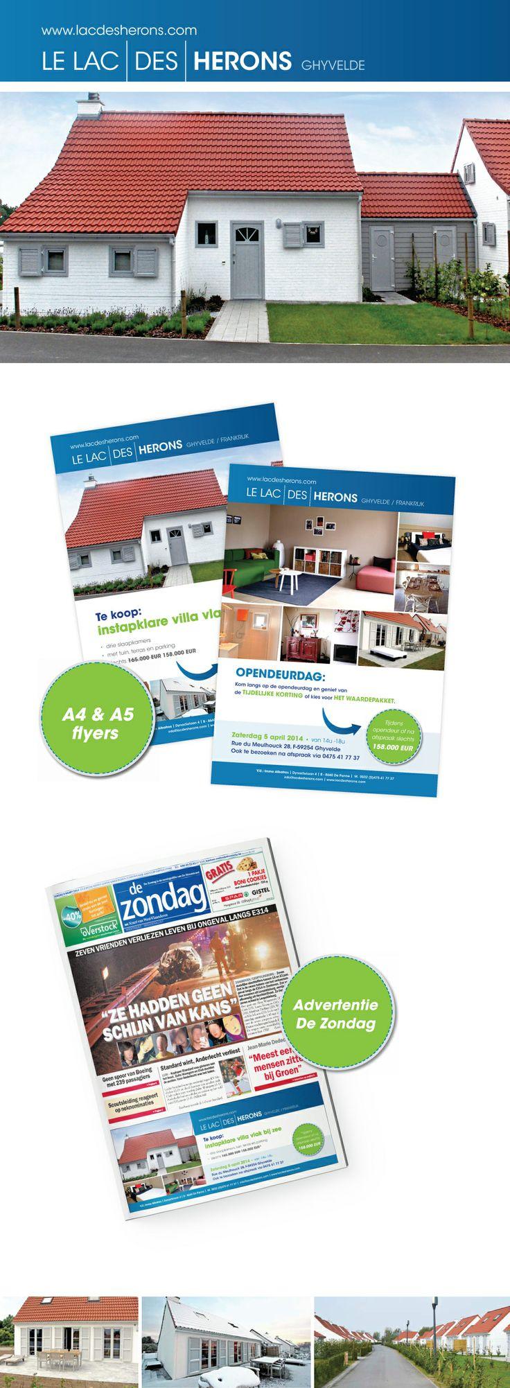 Communicatie voor de verkoop van de laaste 8 woningen. Dit door middel van een A5 flyers, A4 affiches, advertenties in de Zondag en Notimag.