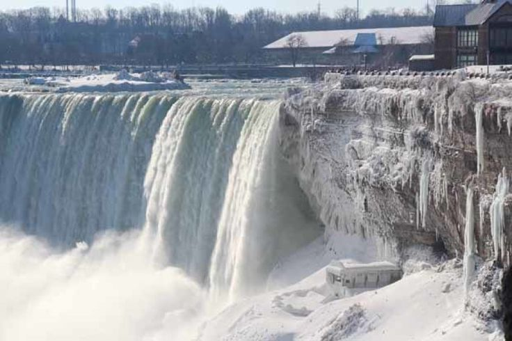 A view of the Niagara Falls frozen over due to the very cold weather in Ontario, Canada, January 9, 2014. Some people think this type of extreme cold disproves global warming. Seyit Aydogan/Anadolu Agency/Getty Images