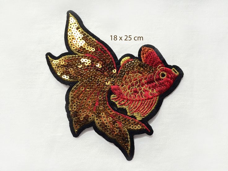 Ecusson à coudre brodé de sequins - Patch - large poisson rouge orange doré - tatoo - Japon carpe : Déco, Customisation Textile par diy-patch